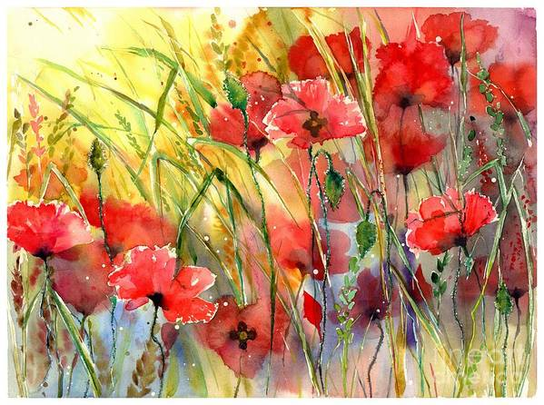 Red Art Print featuring the painting Poppies Bathing In The Sun by Suzann Sines