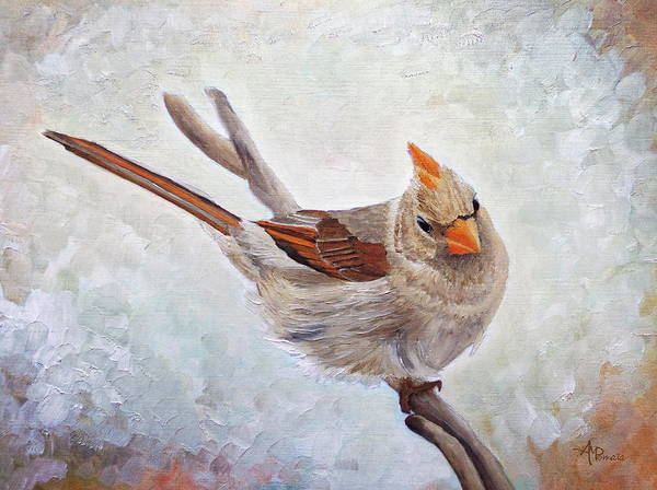 Cardinal Art Print featuring the painting Red Bill Beauty by Angeles M Pomata
