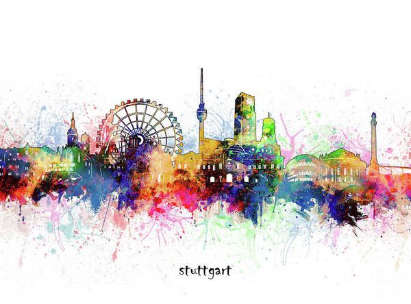 Stuttgart Art Print featuring the digital art Stuttgart Skyline Artistic by Bekim M