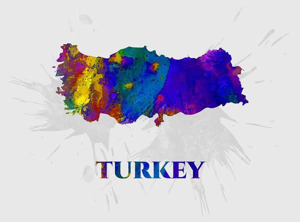 Turkey Art Print featuring the mixed media Turkey, Map, Artist Singh by Artist Singh MAPS