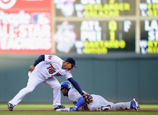 Game Two Art Print featuring the photograph Anthony Gose And Eduardo Escobar by Hannah Foslien