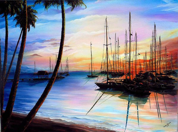 Ocean Painting Seascape Yacht Painting Sailboat Painting Sunset Painting Tropical Painting Caribbean Painting Yacht Painting At The End Of A Yachting Regatta At Pigeon Point Tobago Painting Art Print featuring the painting Days End Yachting Regatta At Pigeon Point Tobago by Karin Dawn Kelshall- Best