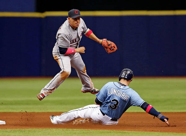 Following Art Print featuring the photograph Evan Longoria And Asdrubal Cabrera by Mike Carlson