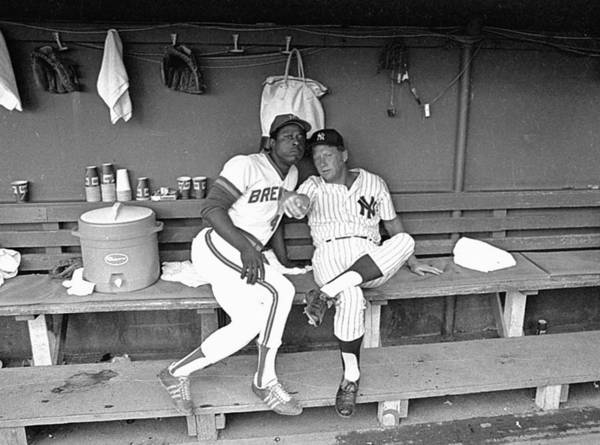 American League Baseball Art Print featuring the photograph Mickey Mantle And Hank Aaron by Ronald C. Modra/sports Imagery