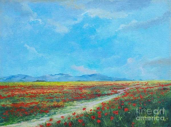 Poppy Field Art Print featuring the painting Poppy Field by Sinisa Saratlic