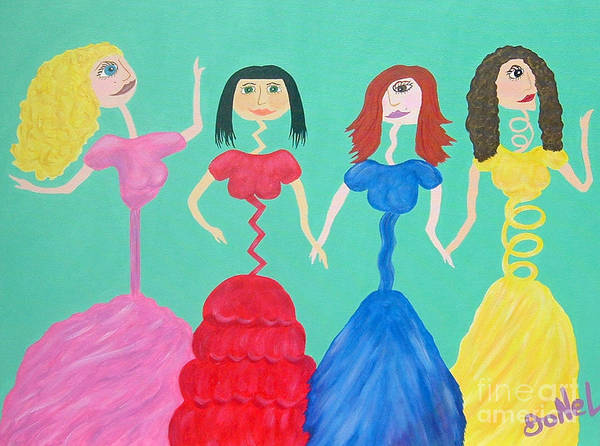 Model Art Print featuring the painting Skinny Miss Minnies..anorexic Models by JoNeL Art