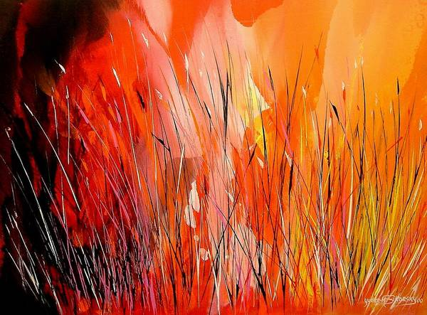 Abstract Art Print featuring the painting Blaze by Yvette Sikorsky