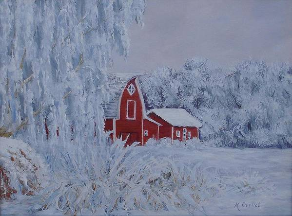 Landscape Art Print featuring the painting Brr by Maxine Ouellet