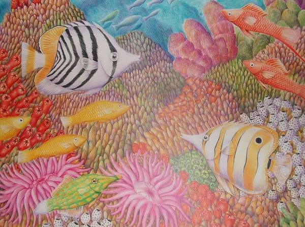Seascape Fish Coral Drawing Art Print featuring the drawing Colorful Ocean by Jubamo
