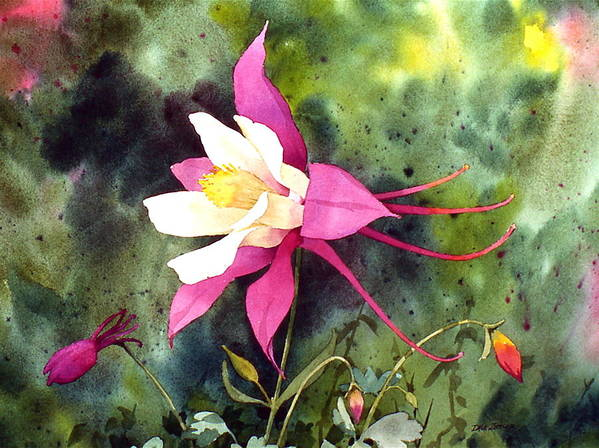 Flowers Art Print featuring the painting Columbine by Faye Ziegler