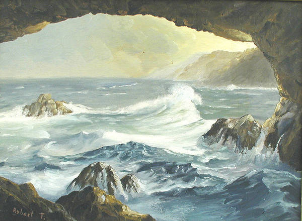 Coast Art Print featuring the painting Costal Cave by Robert Thomaston