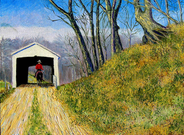 Cowboy Art Print featuring the painting Covered Bridge And Cowboy by Stan Hamilton