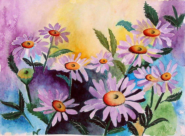 Daisies Art Print featuring the painting Daisies by Mary Gaines