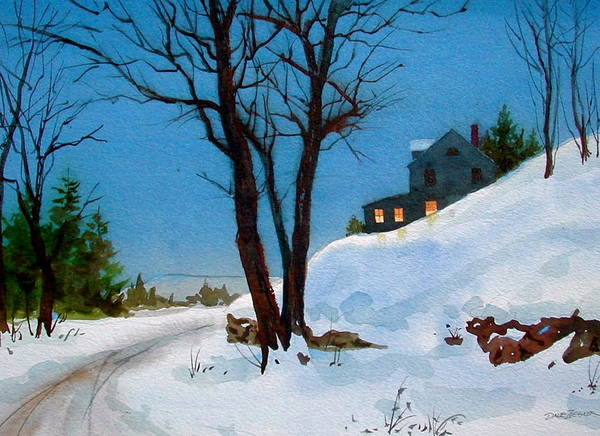 Snow Art Print featuring the painting Evening Snow by Faye Ziegler