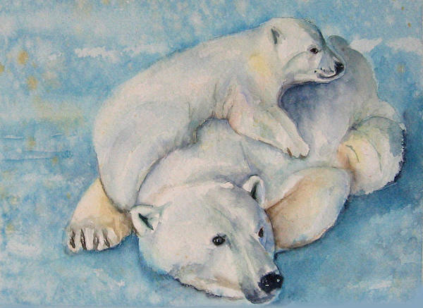 Polar Bears Art Print featuring the painting Frosty Baby by Gina Hall