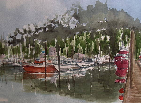 Marina Art Print featuring the painting Ketchican Marina by Pete Maier