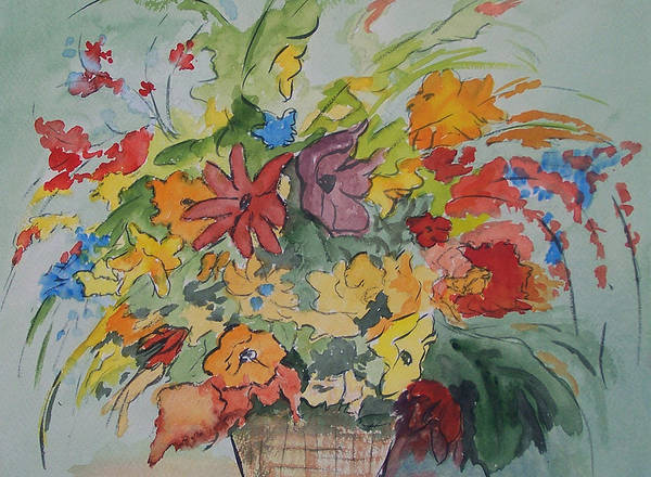 Watercolor Art Print featuring the painting Pams Flowers by Robert Thomaston