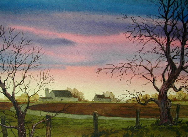 Amish Farm Art Print featuring the painting Peaceful Evening by Faye Ziegler
