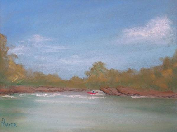 Riverscape Art Print featuring the painting River Rocks by Pete Maier