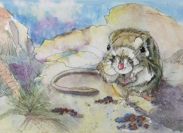 Kangaroo Rat Art Print featuring the painting Squiggy by Gina Hall