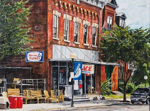 Small Town Art Print featuring the painting Summer by Thomas Akers