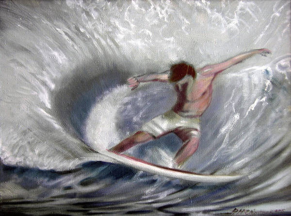 Surfing Art Print featuring the painting Surf'sup by Patrick McClintock