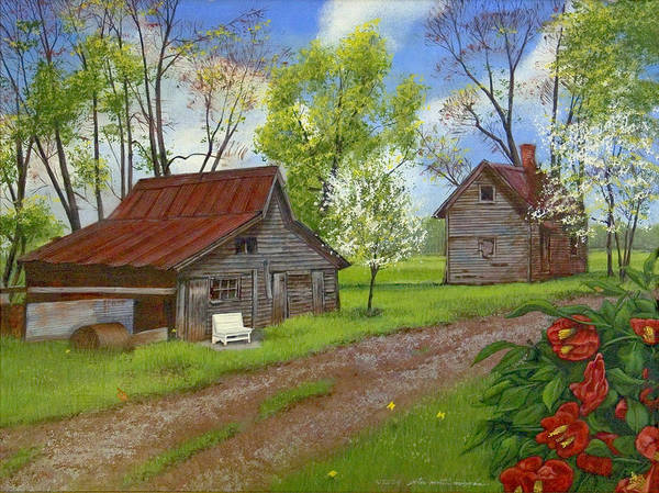 Landscape Art Print featuring the painting The White Bench by Peter Muzyka