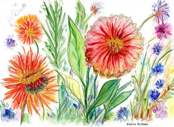 Flowers Nature Botany Drawing Julie Richman Flora Pencil Art Print featuring the painting Three Red Flowers 53 by Julie Richman