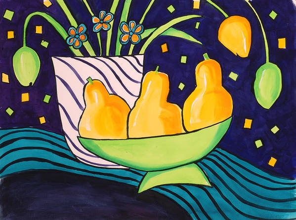 Painting Art Print featuring the painting Tulips And 3 Yellow Pears by Carrie Allbritton