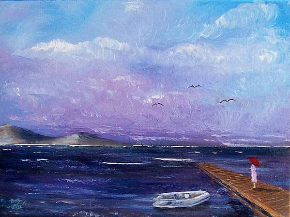 Seascape Art Print featuring the painting Waiting On The Dock by Tony Rodriguez