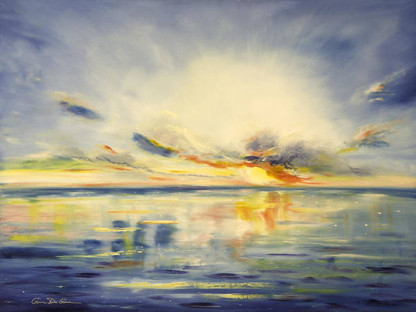 Blue Art Print featuring the painting Blue Sunset by Gina De Gorna