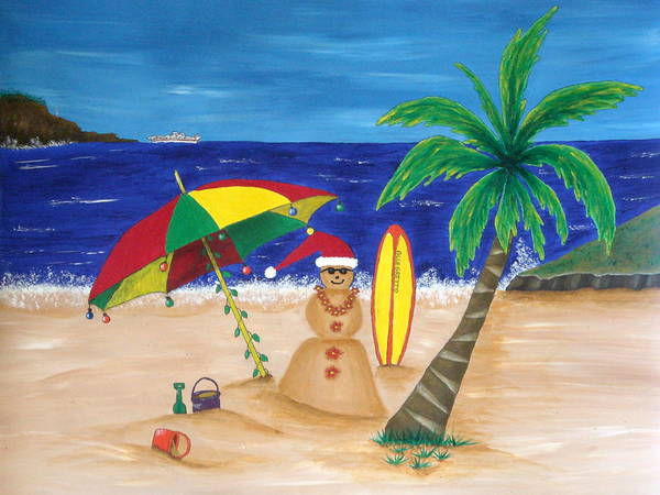 Pamela Allegretto Franz Art Print featuring the painting Christmas In Kona by Pamela Allegretto