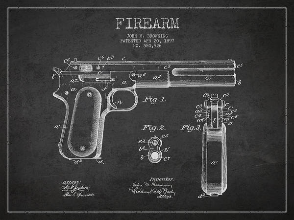 Gun Print featuring the drawing Firearm Patent Drawing From 1897 - Dark by Aged Pixel