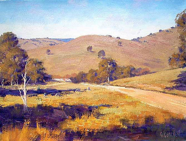 Rural Art Print featuring the painting Summer Landscape by Graham Gercken