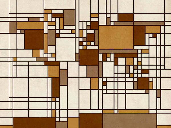 Cartography Print featuring the digital art World Map Abstract Mondrian Style by Michael Tompsett