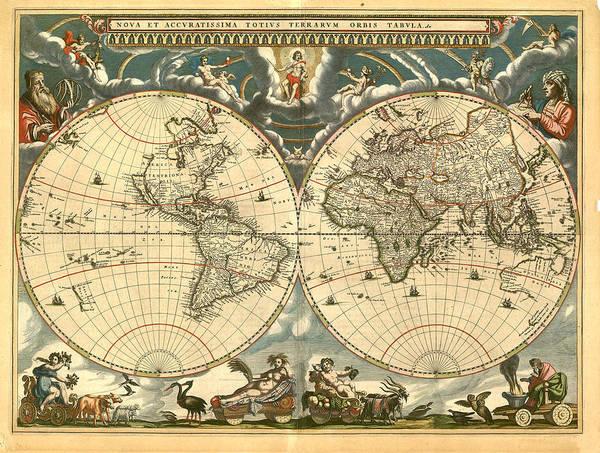 Vintage Art Print featuring the digital art World Map by Gary Grayson