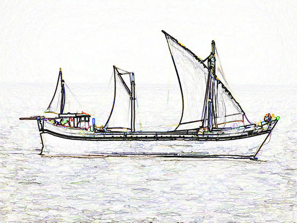 Action Art Print featuring the digital art Fishing Vessel In The Arabian Sea by Ashish Agarwal