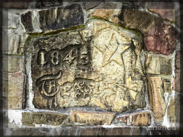 Republic Of Texas Art Print featuring the photograph 1845 Republic Of Texas - Carved In Stone by Ella Kaye Dickey
