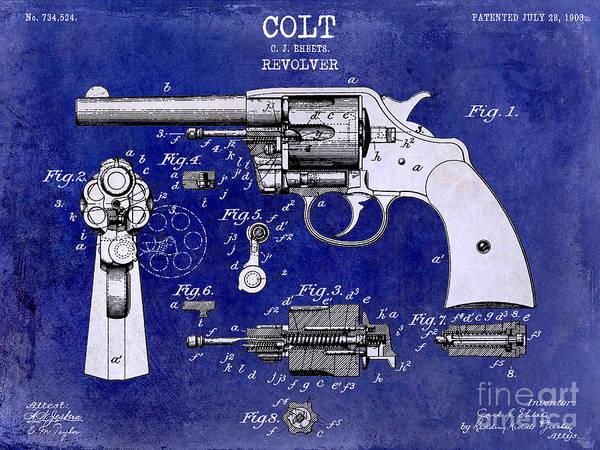 Colt Revolver Art Print featuring the photograph 1903 Colt Revolver Patent Drawing Blue 2 Tone by Jon Neidert