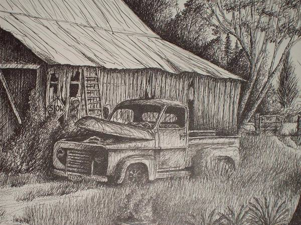 Grandpa's Old Barn With Chevy In Teaxs Art Print featuring the drawing Grandpa's Old Barn With Chevy Truck by Chris Shepherd