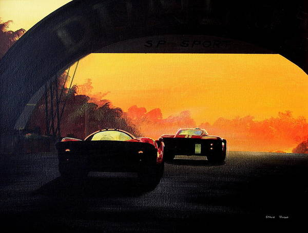 Original Painting On Canvas Board Art Print featuring the painting Le Mans Sunset by Steve Jones