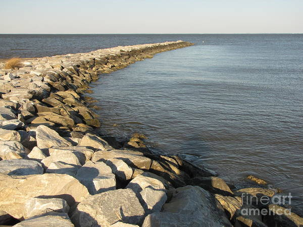 Schuminweb Art Print featuring the photograph Rock Jetty At Sandy Point by Ben Schumin