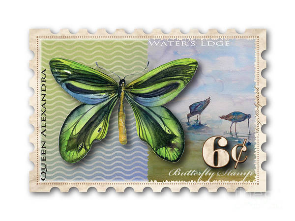 Butterfly Art Print featuring the painting 6 Cent Butterfly Stamp by Amy Kirkpatrick