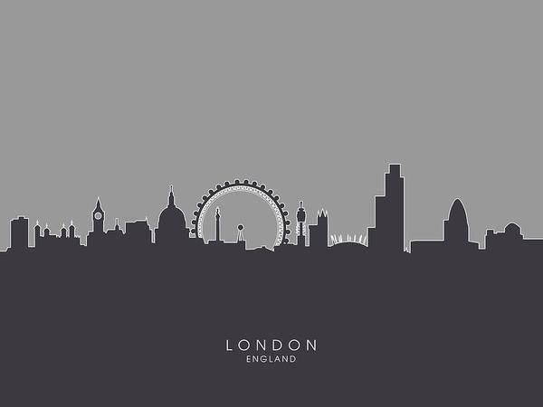 London Art Print featuring the digital art London England Skyline by Michael Tompsett