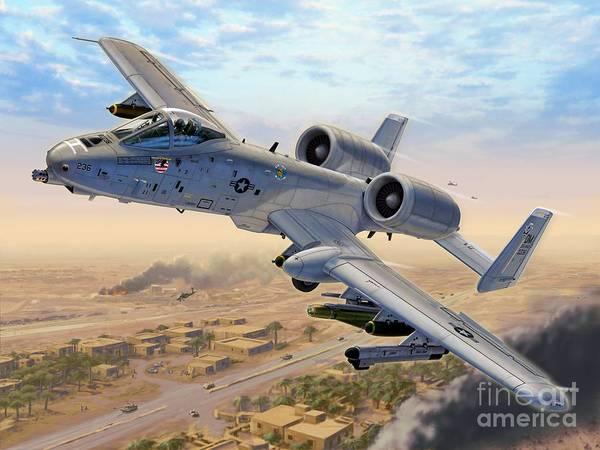 A-10 Art Print featuring the digital art A-10 Over Baghdad by Stu Shepherd