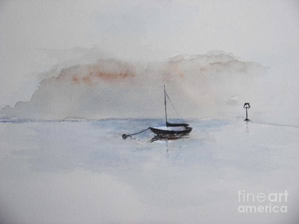 Boat Art Print featuring the painting A Blue Mooring by Sibby S