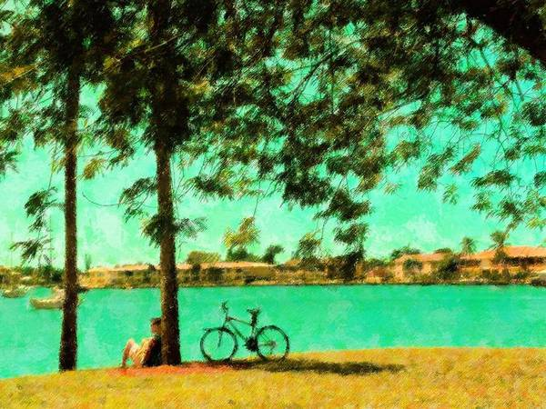 Landscape Art Print featuring the mixed media A Brief Respite by Florene Welebny