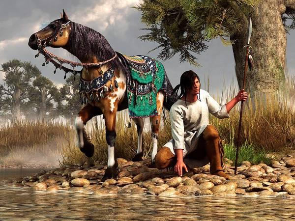 Art Print featuring the digital art A Hunter And His Horse by Daniel Eskridge