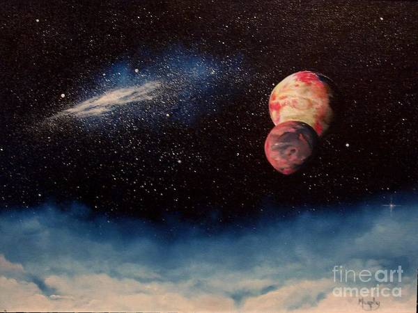 Landscape Art Print featuring the painting Above Alien Clouds by Murphy Elliott