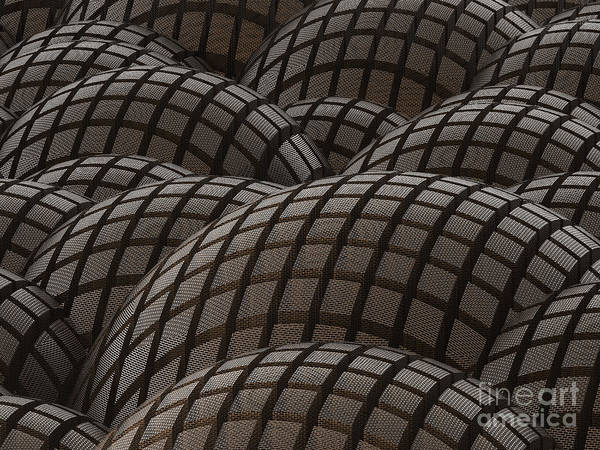 Sphere Art Print featuring the digital art Abstract Rusty Metal Spheres Background by Tomislav Zivkovic